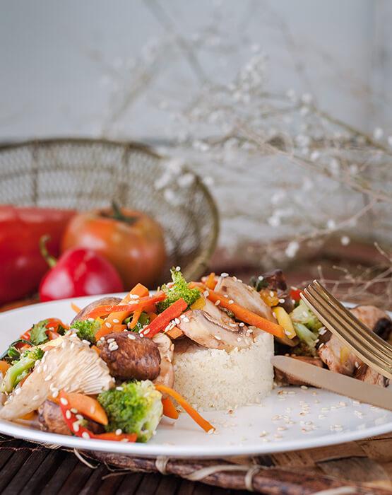 Ensalada al wok setas de curva
