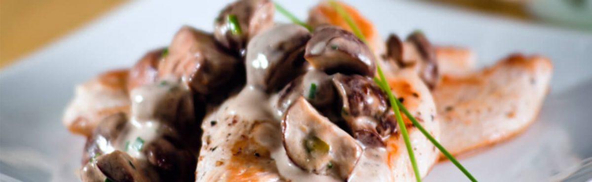 Filete pollo championes setas de curva
