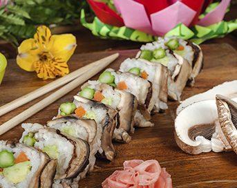 Sushi con portabllo setas de curva